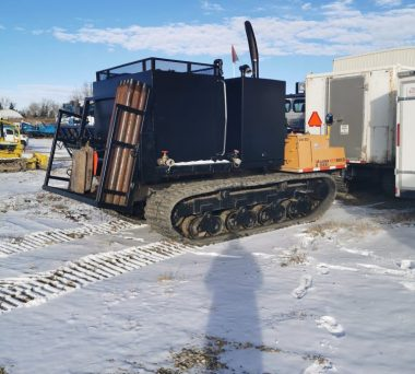 Morooka MST 800VD Dumper with attached support equipment. Unit is capable of hauling various supplies and support equipment to remote drill sites. Pictured with 6m3 of heated water storage for lost circulation drilling.  MAX SPEED - 12 Km/Hr GROUND PSI - UNDER 4PSI